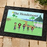 Spring Family Characters Personalized Recycled Rubber Back Doormat - 4961