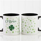 Irish Clover Personalized Coffee Mug 11 oz.- Black - 4989-B