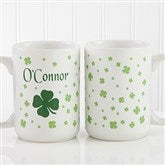 Irish Clover Personalized Coffee Mug 15 oz.- White - 4989-L