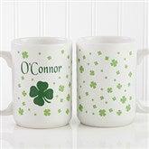 Irish Clover Personalized Coffee Mug 15 oz.- White - 4989-L