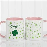 Irish Clover Personalized Coffee Mug 11 oz.- Pink - 4989-P