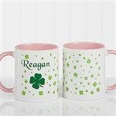Irish Clover Personalized Coffee Mug 11 oz.- Pink - 4989-P