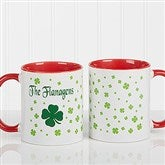 Irish Clover Personalized Coffee Mug 11 oz.- Red - 4989-R