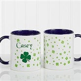 Irish Clover Personalized Coffee Mug 11 oz.- Blue - 4989-BL