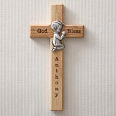 Personalized Wood Cross - Praying Boy - 5073-B