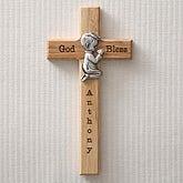 Personalized Wood Cross - Praying Boy - 5073-B