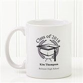 Graduation Cap Personalized Coffee Mug 11oz.- White - 5612-S