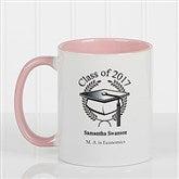 Graduation Cap Personalized Coffee Mug 11oz.- Pink - 5612-P