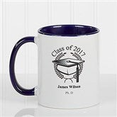 Graduation Cap Personalized Coffee Mug 11oz.- Blue - 5612-BL