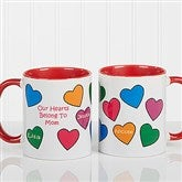 Our Hearts Belong To You Personalized Coffee Mug 11oz.- Red - 5837-R
