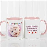 Personalized Photo Message Coffee Mug 11oz.- Pink - 5841-P