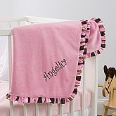 Pink Velour Embroidered Baby Blanket - 6149