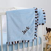 Blue Velour Embroidered Baby Blanket - 6150