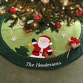 Christmas Family Embroidered Santa Tree Skirt - 6314