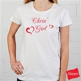 She's My Girl - White Fitted Ladies Tee - 6470-L