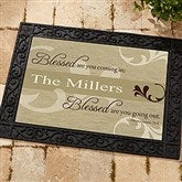 Blessed Are You Personalized Recycled Rubber Back Doormat - 6546-S