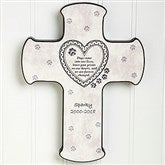 Paw Prints On My Heart Pet Memorial Cross - 6559