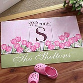 Spring Tulips Personalized Doormat - 6602