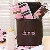 Embroidered Bottle Bag & Burp Cloth Set - Pink - 6618-P