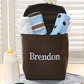 Embroidered Bottle Bag & Burp Cloth Set - Blue - 6618-B
