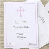 Holy Cross Communion Invitations - Pink - 6624-P