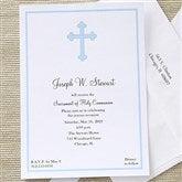 Holy Cross Communion Invitations - Blue - 6624-B
