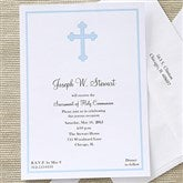 Holy Cross Communion Invitations - Blue - 6624-B