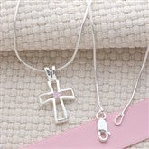 Birthstone Cross Necklace - 14