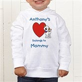 Puppy Heart Belongs Personalized Toddler Hooded Sweatshirt - 6654-CTHS
