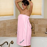 Embroidered Pink Velour Towel Wrap