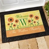 Summer Sunflowers Personalized Recycled Rubber Back  Doormat - 7103-S