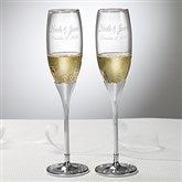 Glitter Accents Engraved Wedding Champagne Flute Set - 7146