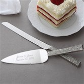 Glitter Galore Engraved Cake Knife & Server Set - 7148