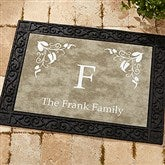 Scroll Leaf Monogram Personalized Doormat - 7198