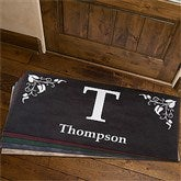Scroll Leaf Monogram Personalized Doormat - 7198-O