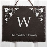 Scroll Leaf Personalized Slate Plaque - 7199