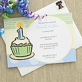Cupcake Custom Party Invitations - Blue - 7203-B