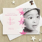 Birthday Star Custom Invitations - Pink - 7207-P