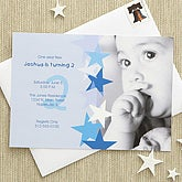 Birthday Star Custom Invitations - Blue - 7207-B