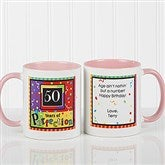 Aged to Perfection Personalized Coffee Mug- 11 oz.- Pink - 7219-P