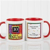 Aged to Perfection Personalized Coffee Mug- 11 oz.- Red - 7219-R