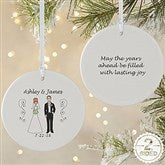 2-Sided Wedding Party Characters Personalized Ornament-Large - 7265-2L