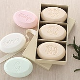 Elegant Monogram 3 Piece Guest Soap Set - 7276D-Monogram
