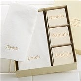 Elegant Monogram Guest Soap & Towel Set - 7277D-Name