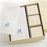 Elegant Monogram Guest Soap & Towel Set - 7277D-Initial