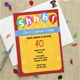 Shhh! It's A Surprise Custom Party Invitations - 7286
