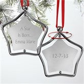 A Star Is Born Spinning Engraved Silver Ornament - 7440