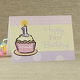 First Birthday Personalized Greeting Card - Pink - 7489-P