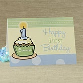 First Birthday Personalized Greeting Card - Blue - 7489-B