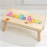 Rainbow Name Personalized Puzzle Stool - Large - Pastel - 7622D-LPA